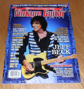July 2011 issue of the American magazine, Vintage Guitar.  Each issue has a variety of articles about vintage and old guitars, guitar collecting, interviews, news and lots more.  Featured in this issue are Jeff Beck, Thin Lizzy, the top 25 guitar songs of the 80s and many other articles and features.  The magazine is in good condition, with some marking and wear to the cover and corners (see photo).  We will ship worldwide.. UK is only £2, Europe is £4, America and Canada £5..all other Countries please email for a quote.